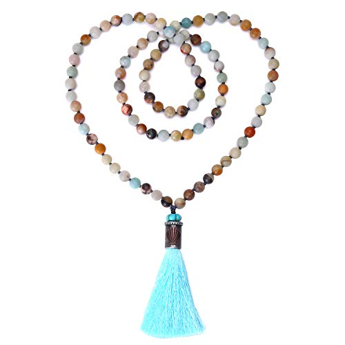 Natural Matte Amazonite Stones Necklace Long Handmade Knotted 8 mm Beaded Tassel Pendant Jewelry for women (Beaded Necklace Handmade)