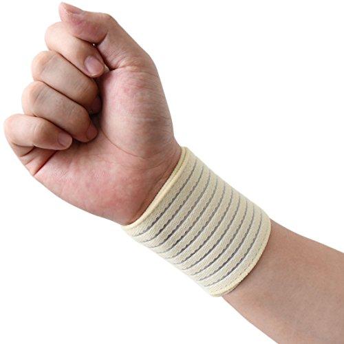uxcell Beige Elastic Sports Wrist Brace Band Hand Palm Wrap