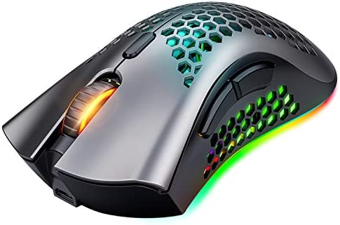 Mashiro Wireless Gaming Mouse, Rechargeable Gaming Mouse, 7 Programmed Buttons with Silent Click, USB Receiver, Ergonomic RGB Optical Sensor Lightweight Honeycomb Shell Mouse for Computer, Laptop, PC