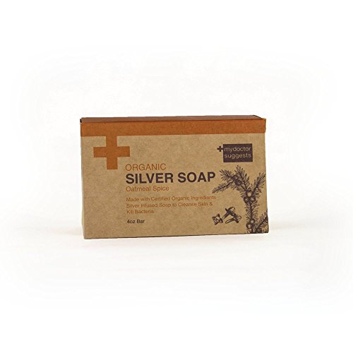 Organic Exfoliating Silver Soap - Made with Certified Organic Ingredients. Silver Infused Soap to Cleanse Skin & Kill Bacteria. Made with Real Oatmeal 4oz Bar