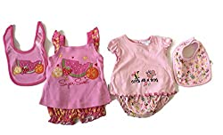 Twin Pack Baby Girl Bloomers, Bib, and Top Cute and Sweet (6-9)