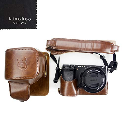 kinokoo Canon PU Leather Camera Case for Sony A6300 A6000 and 16-50mm Lens with Shoulder Strap, Cleaning Cloth(Coffee)
