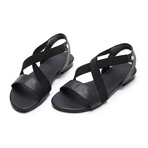 AalarDom Womens Open-Toe Low-Heels PU Solid Sandals Black(taojiao) hWhG5I