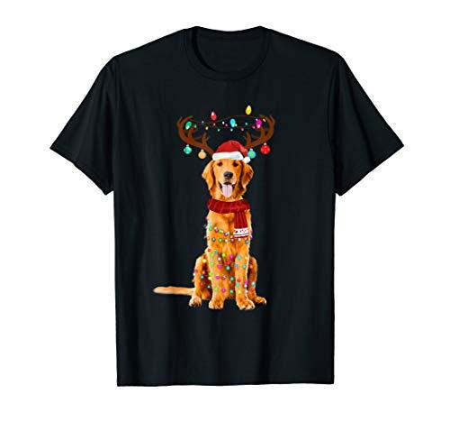Cute Golden Retriever Christmas Lights Reindeer Pajamas T-Shirt (Presents Retriever Golden)