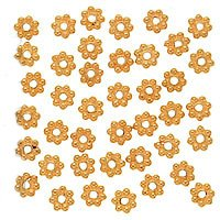 Vermeil Daisy Spacers Beads (22K Gold Vermeil Bali Silver Daisies 5mm (20))