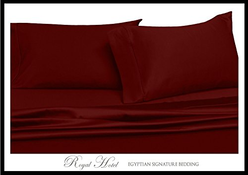 Royal Hotel's Solid Burgundy 600-Thread-Count 4pc King WATERBED SHEETS, 100-Percent Cotton, Sateen Solid, Deep Pocket