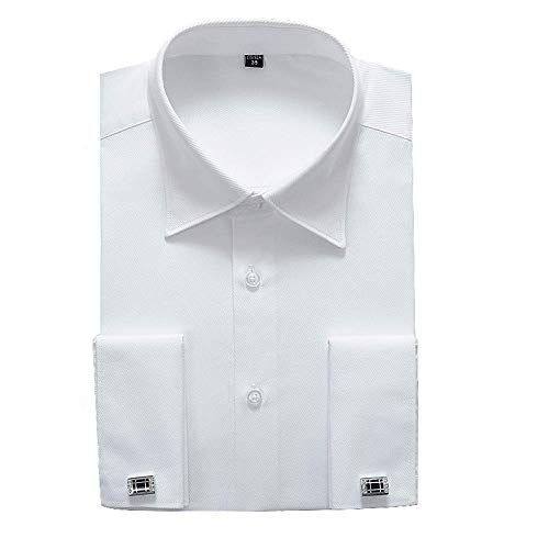 "Alimens & Gentle French Cuff Regular Fit Dress Shirts (Cufflink Included) (17.5"" Neck - 34""/35"" Sleeve, White New)"