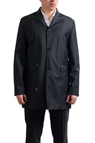 Dior Men's Gray 100% Virgin Wool Button Down Trench Coat US S IT 48; Button Down Trench Coat