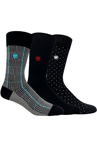 LOVE SOCK COMPANY Black Organic cotton men's dress socks bundle. 3 Premium black socks solid, polka dots and houndstooth patterned socks set by LOVE SOCK COMPANY (Image #8)
