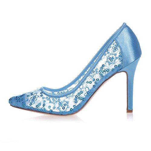L@YC 0608-25 Punta De TacóN alto Para Mujer Zapatos De TacóN De SatéN Cerrados Zapatos De TacóN De SatéN Pink