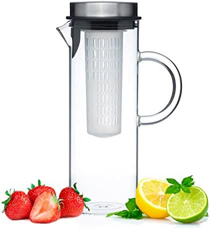 Glass Water Pitcher With Lid & Fruit Infusion Core | Borosilicate Glass Carafe W/ Up To 50Oz/1500ml Capacity | Stainless Steel Lid, BPA-FREE Infuser Rod | Perfect For Water, Tea, Sangria, Juice