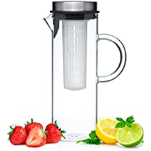 Glass Water Pitcher With Lid & Fruit Infuser Rod - Borosilicate Glass Carafe W/ Up To 50Oz/1500ml Capacity - Stainless Steel Lid, BPA FREE Infusion Filter - Perfect For Water, Tea, Sangria, Juice