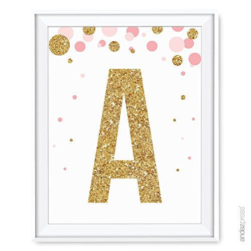 Andaz Press Nursery Wall Art Decor, Pink and Printed Gold Glitter, Letter A, 8.5x11-inch, 1-Pack, Unframed Prints Poster
