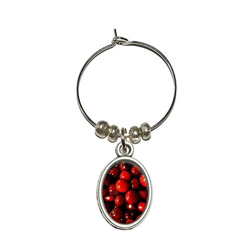 Graphics and More Red Cherries Wine Glass Oval Charm Drink Marker