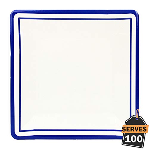 """Pack of 100 Blue Rim Disposable Paper Plates, Square 9"""", Everyday Party Supplies for Appetizer, Lunch, Dinner, or Dessert"""