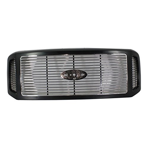 Edition Insert (Evan-Fischer EVA17772038416 Grille for Ford F-Series Super Duty 05-07 Horizontal Bar Insert Painted-Black Shl/Chrome Insert Harley-Davidson Edition)