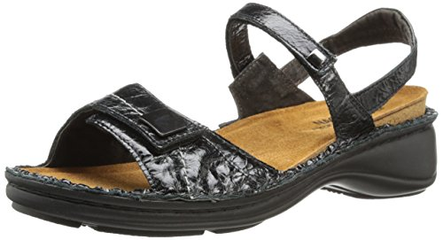 Naot Women's Papaya Flat,Black Madras Leather,40 EU/8.5-9 M US by NAOT