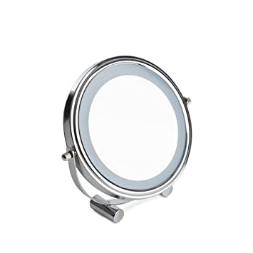 Sabichi 173744 LED Light Cosmetic Makeup Round Magnifying Vanity Compact Mirror, Glass, Silver Make-up Mirrors at amazon