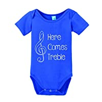 Here Comes Treble Printed Infant Bodysuit Baby Romper Royal 3-6 Month