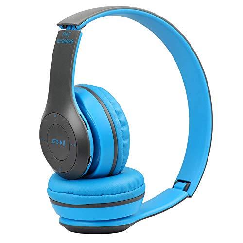 esuav Wireless Bluetooth Portable Sports Headphones with Microphone, Stereo Fm,Memory Card Support  P47 Headphone   Blue