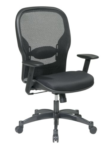 Finish Gunmetal Base Metal (SPACE Seating Breathable Mesh Black Back and Padded Mesh Seat, 2-to-1 Synchro Tilt Control, Adjustable Arms and Lumbar Support with Gunmetal Finish Base Managers Chair)