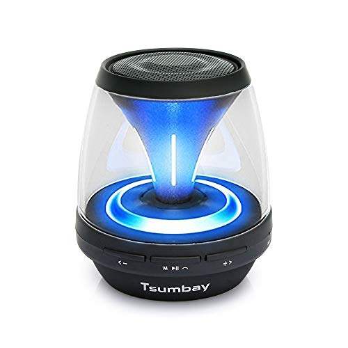 Tsumbay Vivid Sound Portable Bluetooth Speaker, Mini Speakers with Led Light and FM Radio, Wireless Sound Music Box Kid Boombox for iPhone, Samsung, iPad, PC Computer and More by Tsumbay