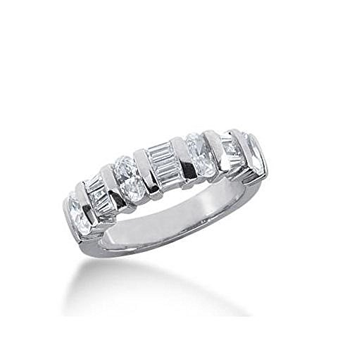 6 Tapered Baguettes (14K Gold Diamond Anniversary Wedding Ring 4 Oval Shaped, 3 Straight Baguette, 6 Tapered Baguette Diamonds 1.45ctw 222WR102514K - Size 9.5)