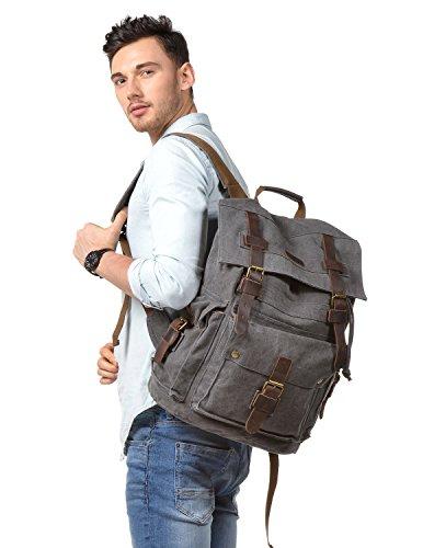 958d94df24 Kattee Men s Canvas Leather Hiking Travel Backpack Rucksack School Bag Army  Green