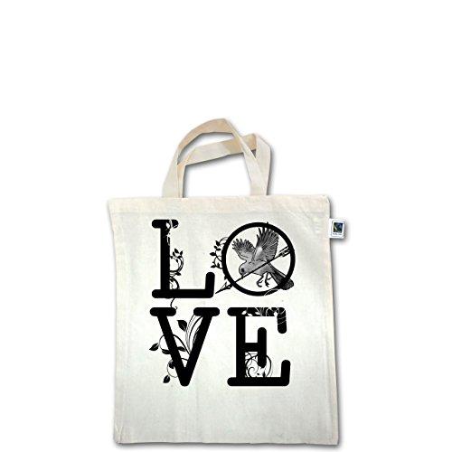 Statement Shirts - Love Vogel Ranken - Unisize - Natural - XT500 - Fairtrade Henkeltasche / Jutebeutel mit kurzen Henkeln aus Bio-Baumwolle