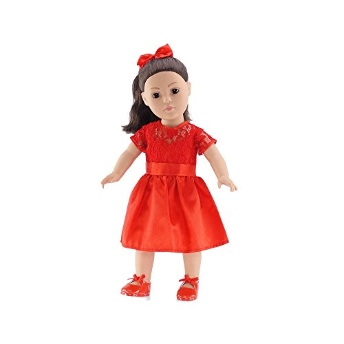 18 Inch Doll Clothes | Red Lace Holiday Dress Outfit with Shoes and Ponytail Holder | Fits American Girl Dolls