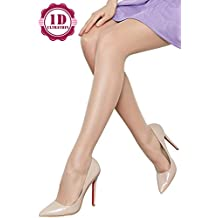 Women's Ultra-thin Sheer Control Top Pantyhose with T Crotch 1 Denier Summer Solid Color Footed Hosiery Stockings