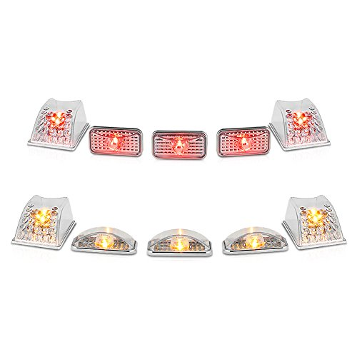 Roof Hummer Lights - VIPMOTOZ For 2003-2009 Hummer H2 SUT [10-Pieces] Front and Rear Roof Cab Lights - Metallic Chrome Housing