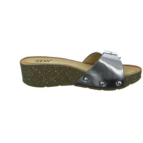 SDS 1333-KT Damen Bio Pantolette Grau (Silber)