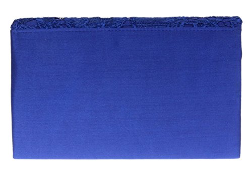 Satin H Elegant Womens Coral amp;G Shoulder Clutch Blue Bag Evening Wedding Royal Chain Ladies Lace EETqS
