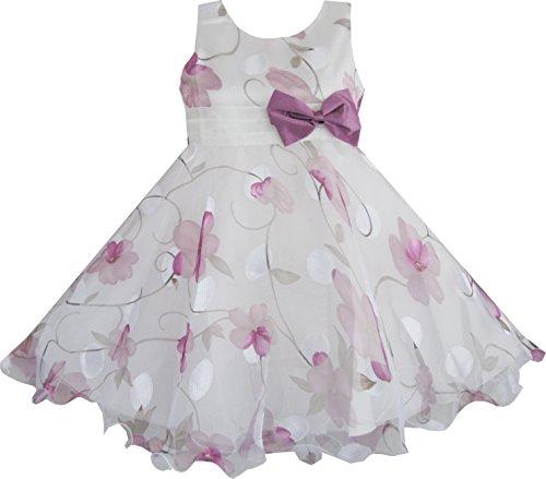 Sunny Fashion Girls Dress Purple Flower Bow Tie Wedding Party Size - Fashion Sunnies