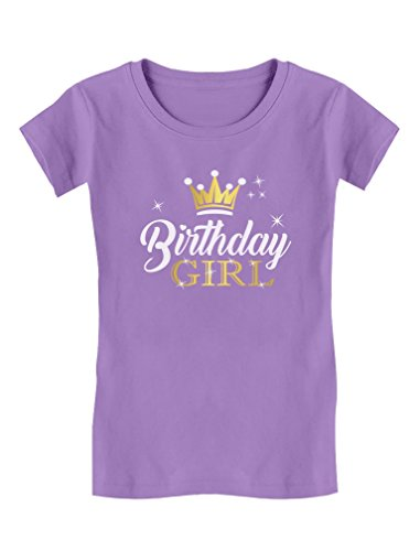 Birthday Girl Party Shirt Princess Crown Girls Fitted T-shirt XL (14/16) Lavender