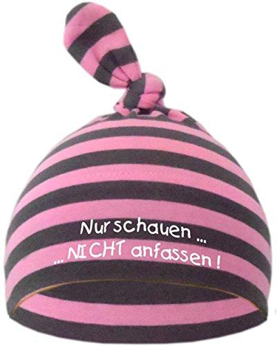 Baby Mütze bedruckt mit NUR SCHAUEN - NICHT ANFASSEN (Farbe rosa/grau) (Gr. 0 -74)