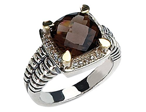 4.2 Carat (ctw) Smokey Quartz & Diamond Cable Ring in Sterling Silver with 14K Gold Accents (14k Gold Smokey Quartz)