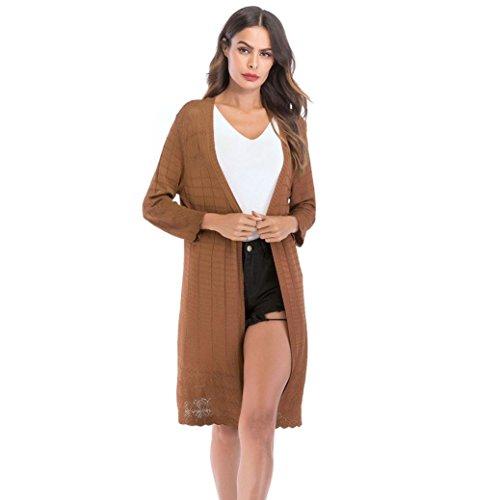 - VEZAD Women's Loose Coat Gradient Solid Knit Cardigan Retro Long Sleeve
