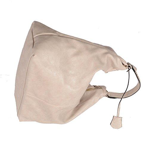 Designer Tasche Kunst Leder Handbag Handtasche Henkeltasche Abendtasche Schultertasche City Tote Bag Creme Beige Grau