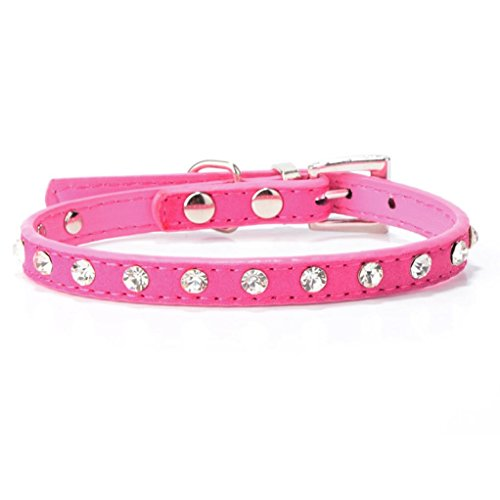 (Hot Sale!BIG PROMOTION!Dog Clothes❤️ZYEE❤️ Rhinestone Adjustable Leather Dog Puppy Cat Collars Necklace Neck (Hot Pink) )