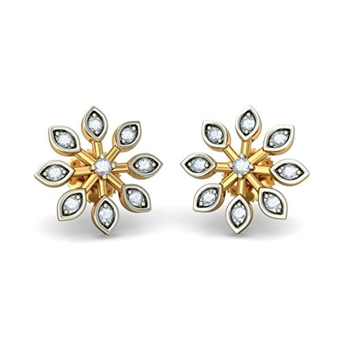 18 K Or jaune 0,15 CT TW White-diamond (IJ | SI) Boucles d'oreille à tige