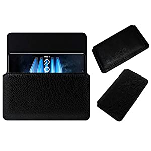 Acm Horizontal Case Compatible with Iqoo 7 Legend Mobile Leather Cover Pouch Black