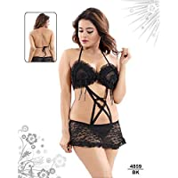Enora Women Lace Baby Doll Dress with Attached Panty, 1 Pcs Nightwear, Free Size - 4859