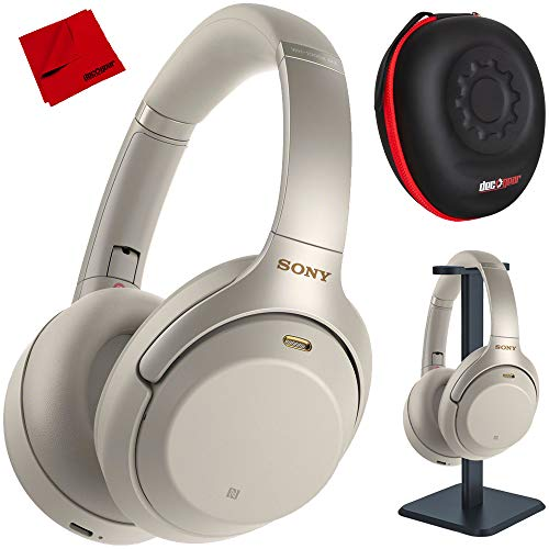Sony WH1000XM3 Premium Noise Cancelling Wireless Bluetooth Headphones w/Built in Microphone WH-1000XM3/S Silver + Deco Gear Premium Hard Case + Pro Audio Headphone Stand + Microfiber Cleaning Cloth ()