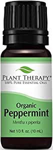 Plant Therapy USDA Certified Organic Peppermint Essential Oil. 100% Pure, Undiluted, Therapeutic Grade. 10 ml (1/3 oz).