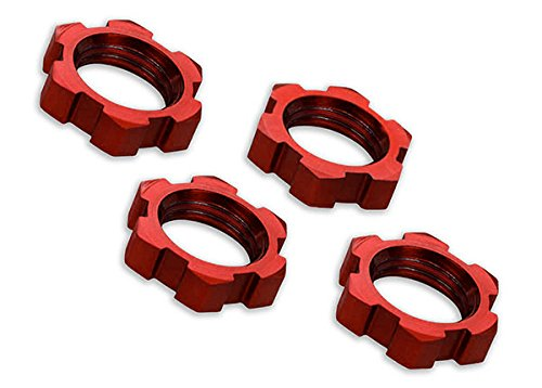 Traxxas 7758R Splined, Serrated, Red-Anodized 17mm Wheel Nuts (set of 4)