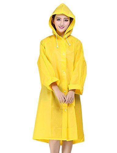LANSHULAN Womens Unisex Easy Carried Translucent Thicken EVA Raincoat (M(5'-5'5), Yellow)