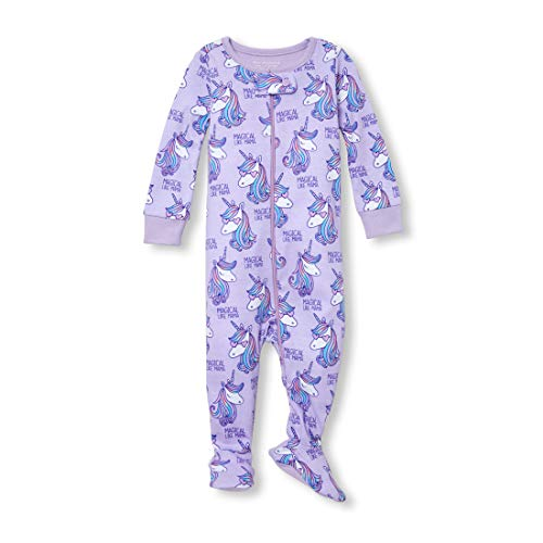 The Children's Place Baby Girls' Novelty Printed One Piece Long Sleeve Footed Sleeper, Lovely Lavender, - Girls Footed Pajamas