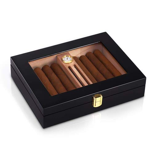 HANNICOOK High Gloss Cigar Humidor for 10-15 Cigars, Solid Spanish Cedar Wood Cigar Box, Desktop Humidors with Luxury Hygrometer and Humidifier